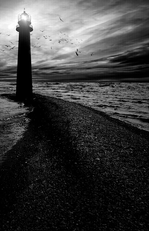 Lighthouse with Storm Clouds