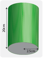 Cylinder with length of 20cm and radius of 2.5cm