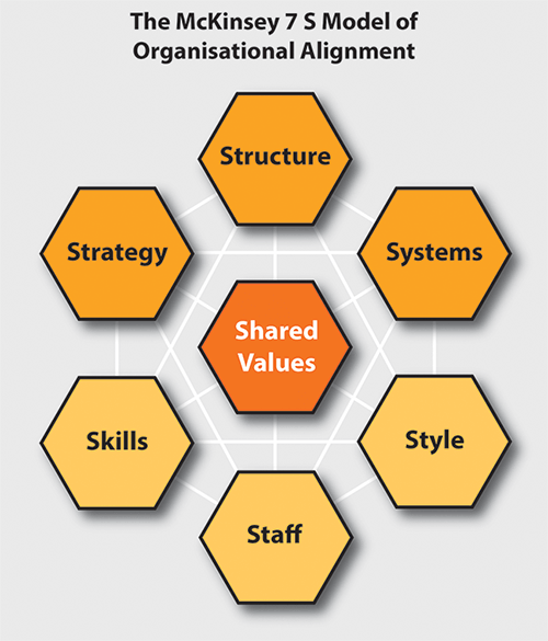 The McKinsey 7 s Model of Organisational Alignment:  Stategy, Structure, Systems, Skills, Staff, Style and Shared Values