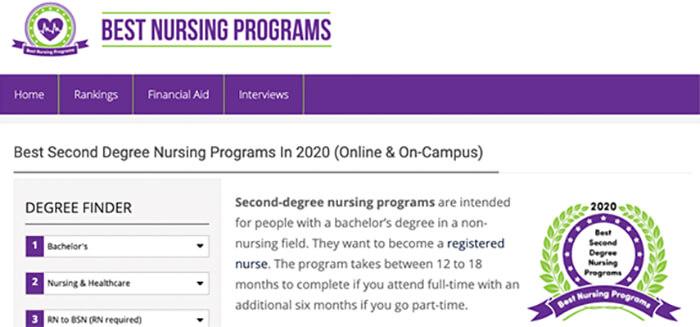 Best Nursing Programs website screenshot.