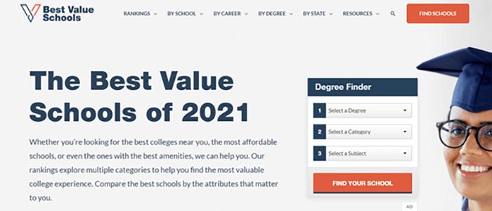 Best Value Schools website screenshot.