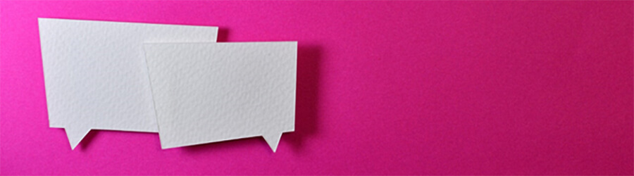 Speech bubbles on a pink background.