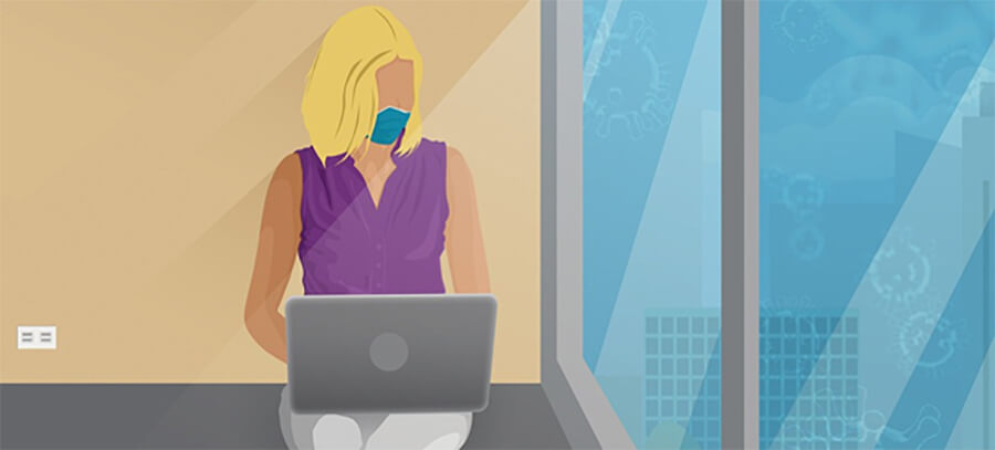 Cartoon image of a woman remote worker with a laptop wearing a face mask.