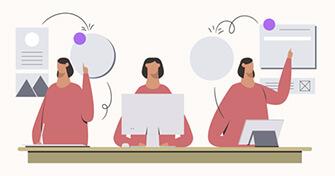 Cartoon depicting data analytics.