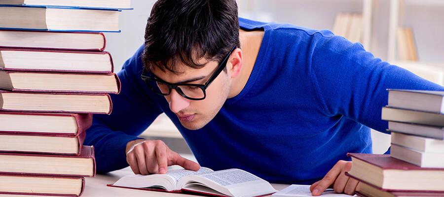 Young man revising