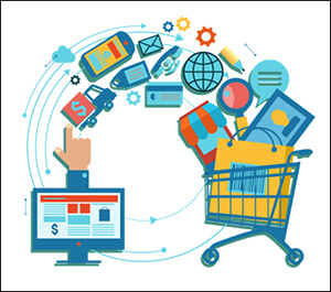 eCommerce icons flowing from a computer screen into a cart.