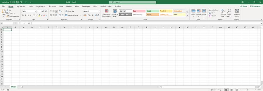 Blank Excel worksheet.