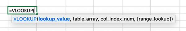 Excel VLOOKUP example.