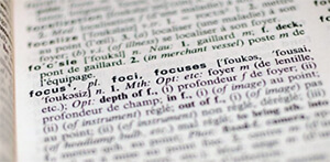 A dictionary page with the word 'focus'.