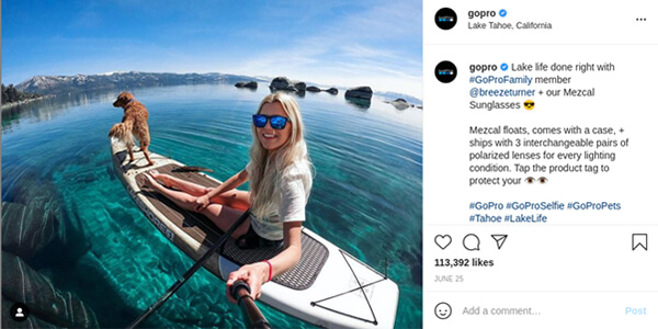 GoPro Instagram message.