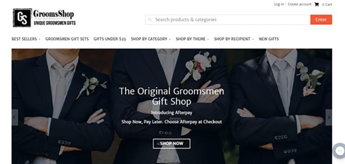 GroomsShop website screenshot.