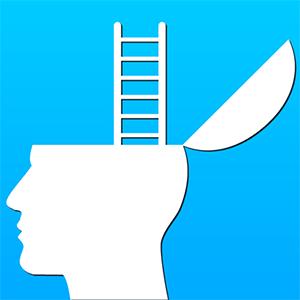 Growth Mindset:  Ladder extending from an open head.