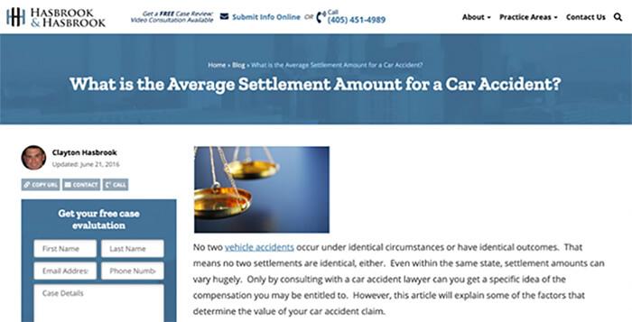 Hasbrook and Hasbrook website screenshot.