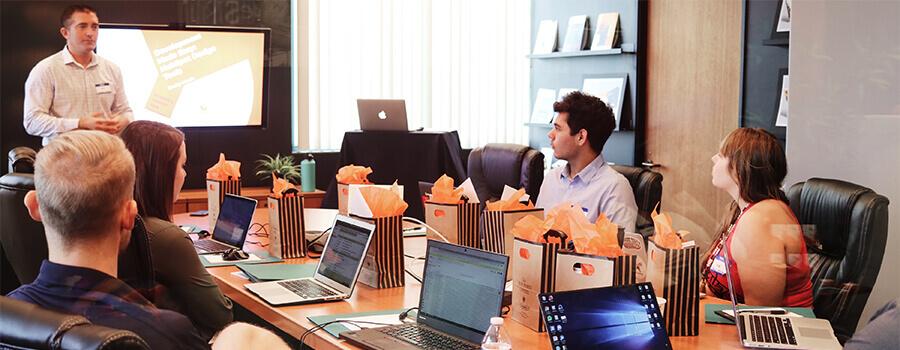 Team meeting in a modern office.