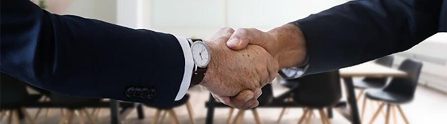 Job interview handshake.