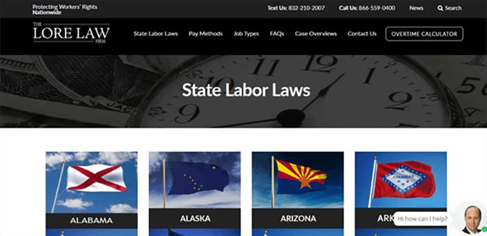 The Lore Law Firm website screenshot.