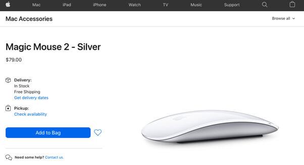 Apple screenshot of Mac Magic Mouse 2