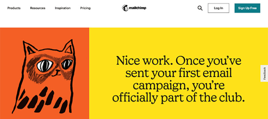 MailChimp example webpage.