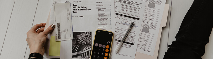 Tax forms and calculator.