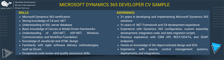 Microsoft dynamics 365 developer CV sample.
