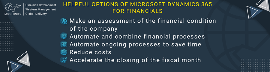 Helopful options of Microsoft Dynamics 365 for financials.