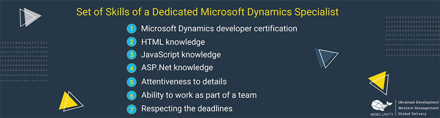 Set of skills of a dedicated Microsoft Dynamics specialist.