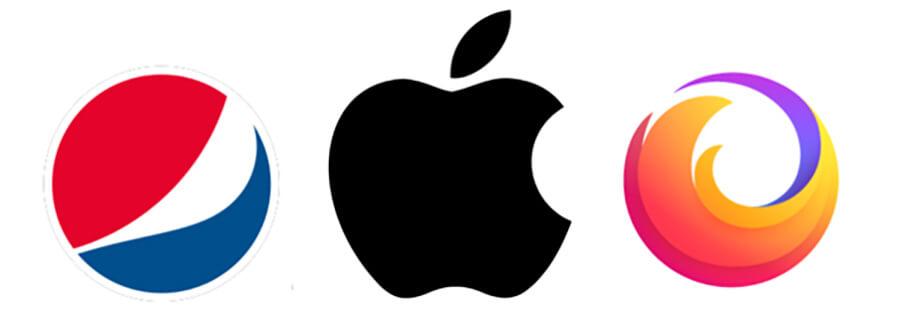 Modern logos for Pepsi, Apple and FireFox