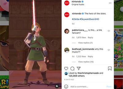Nintendo social media screenshot.