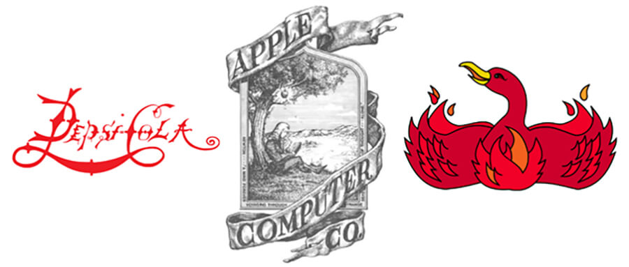 Old logos for Pepsi, Apple and FireFox