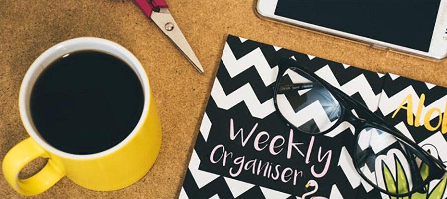 Organising skills, planner, tablet, coffee.