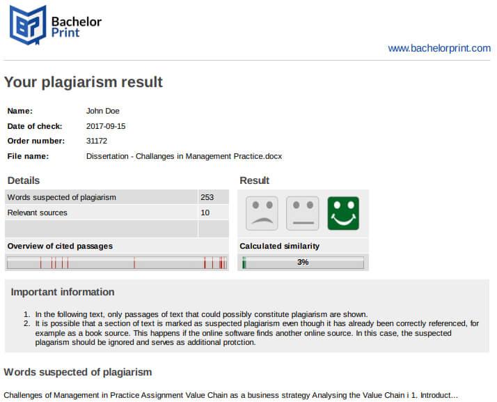 BachelorPrint Plagiarism Detector, results.