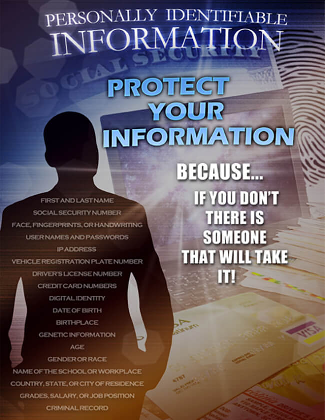 Poster: Protect Your Personally Identifiable Information  Because... If You Don't There is Someone That Will Take It!