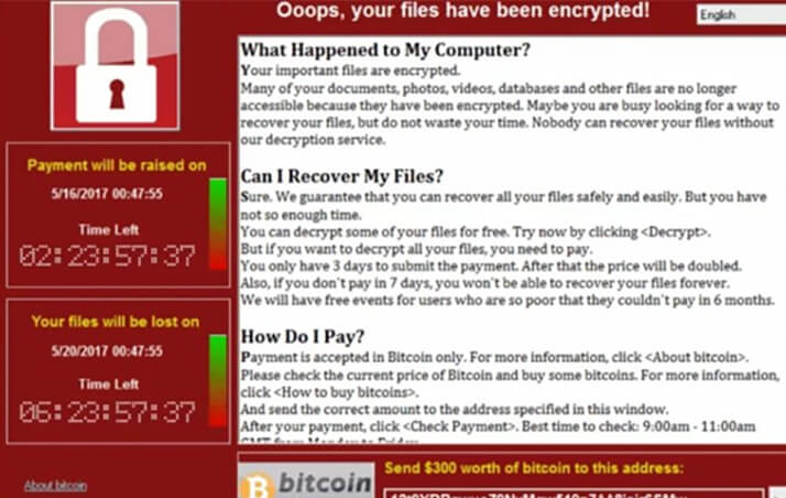 Typical ransomware screenshot