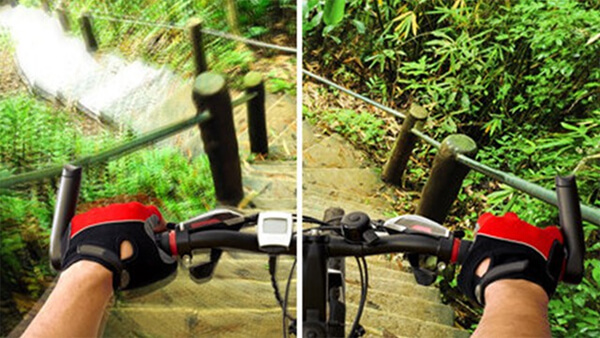 Split image of person riding a mountain bike down a flight of steps. The left side of the image is blurred and the right side is sharp.