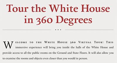 Virtual White House Tour website screenshot.