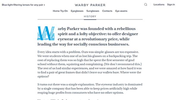 Warby Parker website screenshot.
