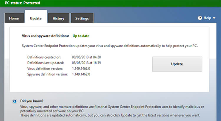 Windows Defender - Make sure your anti-virus software is up to date.
